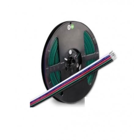 Câble 10 mètes RGB+W, à 5 pôles, marquage couleur, 5x0,5mm²