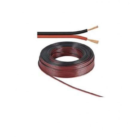 Câble 25 mètres 2 fils 0,75mm, noir/rouge