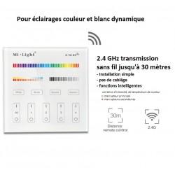 Interrupteur tactile sans fil 4 zones éclairage couleur et blanc RGBW