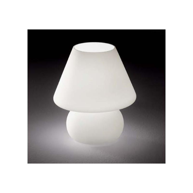Lampe poser en verre blanc sabl for Lampe a poser but