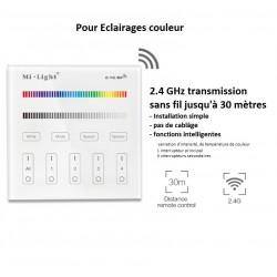 Interrupteur tactile sans fil 4 zones éclairage couleur et blanc dynamique RGB CCT